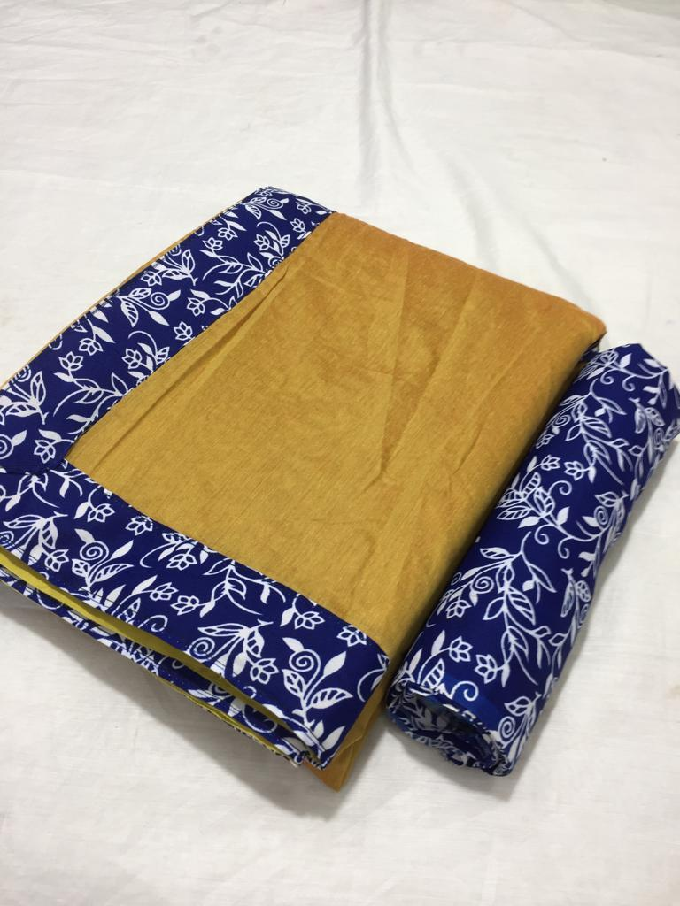 Beautiful Plain Chanderi Saree with Digital Printed Border/Lace