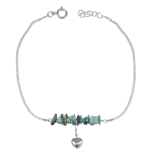 Jaipur Rajasthan India Turquoise Gemstone 925 Sterling Silver Single Piece Anklet Handmade Jewelry Manufacturer
