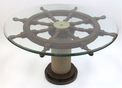 Ship Wheel Table Glass Rope Base 36 Inch