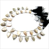 Natural Peach Moonstone AB mystic Coated Leaf Fancy Shape Briolette Beads