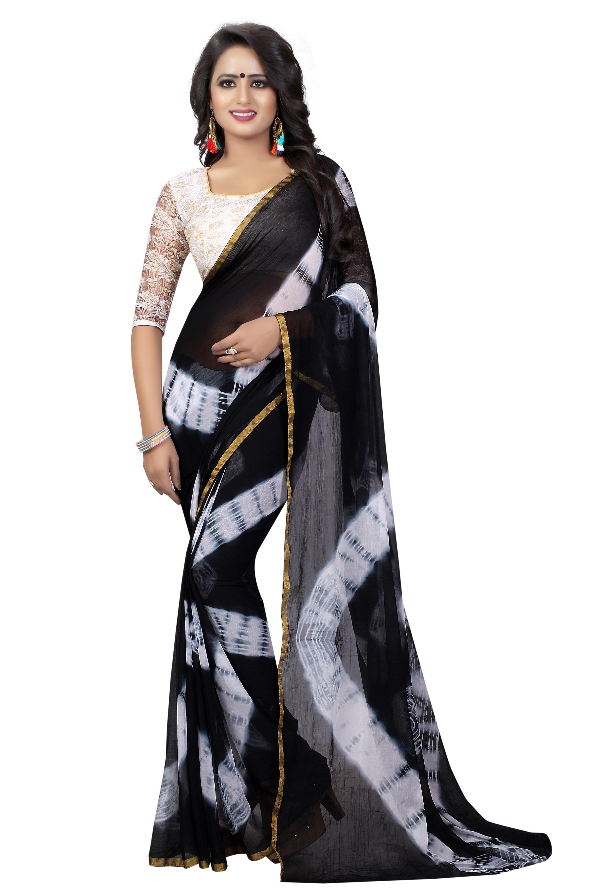 Leheriya Chiffon Saree With Brasso Net Blouse