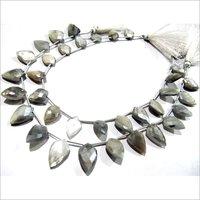 Natural Grey Moonstone AB mystic Coated Leaf Fancy Shape Briolette Beads