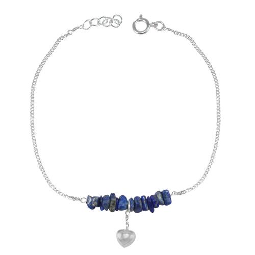 Handmade Jewelry Manufacturer Lapis Lazuli Gemstone 925 Sterling Silver Jaipur Rajasthan India Single Piece Anklet