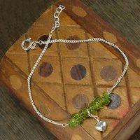 Peridot Gemstone Handmade Jewelry Manufacturer Jaipur Rajasthan India 925 Sterling Silver Single Piece Anklet