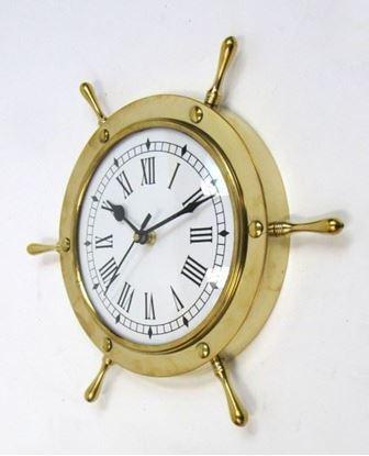Brass Ship Wheel Clock 11 Inch