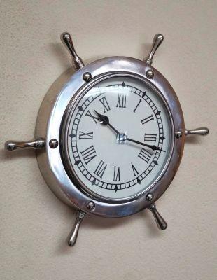Brass Ship Wheel Clock 18 Inch