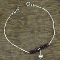 Handmade Jewelry Manufacturer Garnet Gemstone 925 Sterling Silver Single Piece Anklet Jaipur Rajasthan India