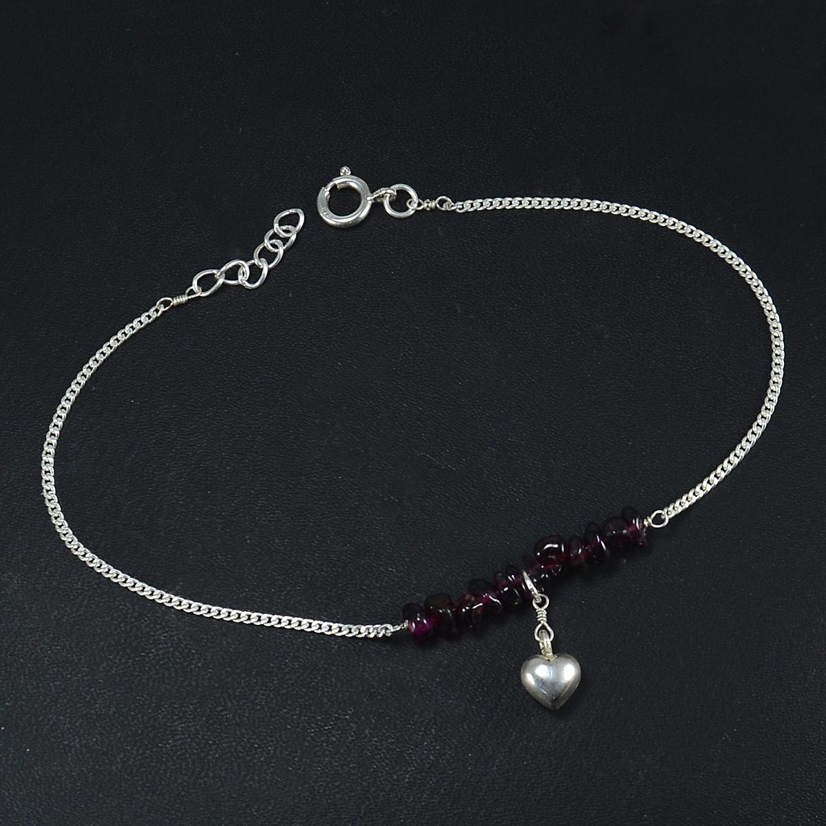 Handmade Jewelry Manufacturer Garnet Gemstone 925 Sterling Silver Single Piece Anklet Jaipur Rajasthan India