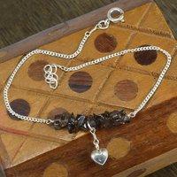 Smoky Quartz Gemstone Handmade Jewelry Manufacturer  925 Sterling Silver Single Piece Anklet Jaipur Rajasthan India