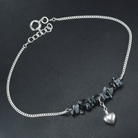 Jaipur Rajasthan India Snowflake Obsidian Gemstone Handmade Jewelry Manufacturer 925 Sterling Silver Single Piece Anklet