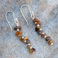 Tiger Eye Gemstone Handmade Jewelry Manufacturer 925 Sterling Silver Jaipur Rajasthan India Dangle Earring