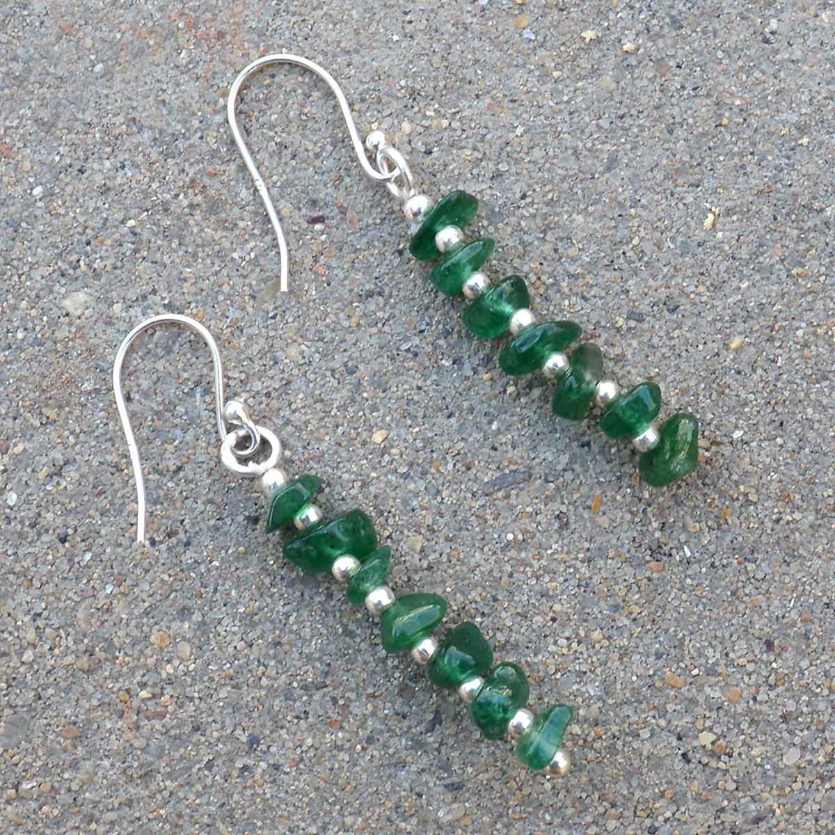 Green Aventurine Gemstone Handmade Jewelry Manufacturer 925 Sterling Silver  Jaipur Rajasthan India Dangle Fish Hook Earring