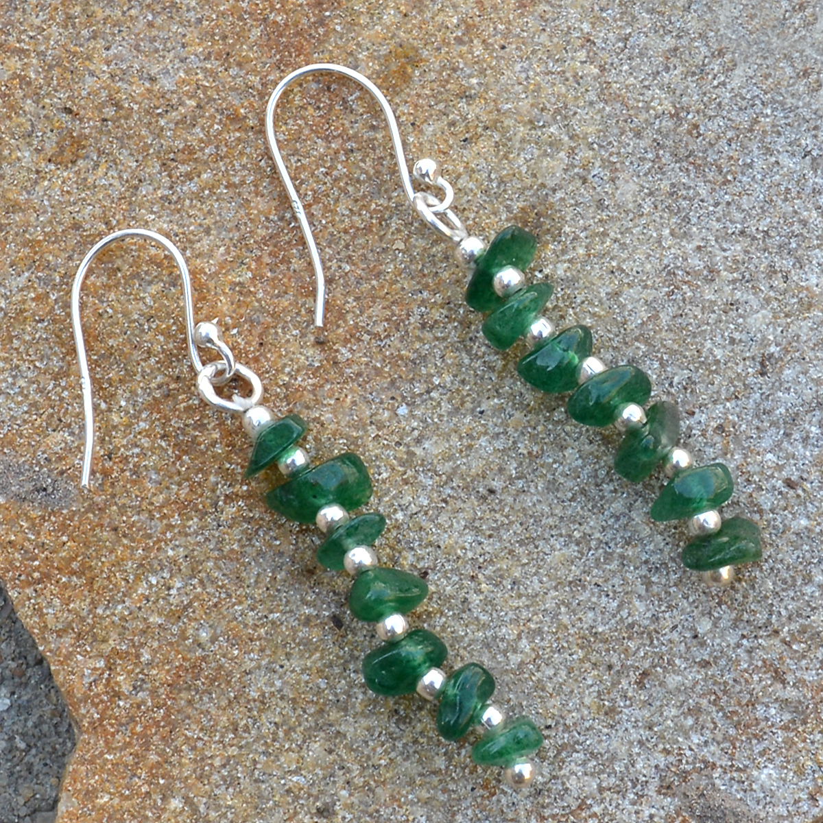 Green Aventurine Gemstone Handmade Jewelry Manufacturer 925 Sterling Silver  Jaipur Rajasthan India Dangle Fish Hook Earring
