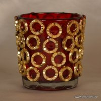 Red Glass Small T Light Candle Votive