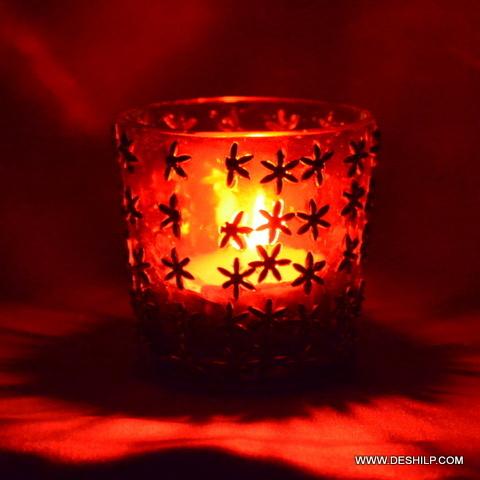 Red Glass T Light Votive