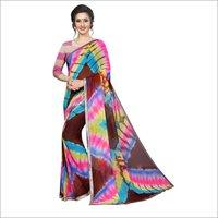 New Bandhani Style Chiffon Saree With Lace