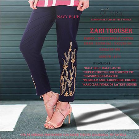 Navy Blue Zari Trouser