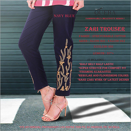 Navy Blue Zari Trouser