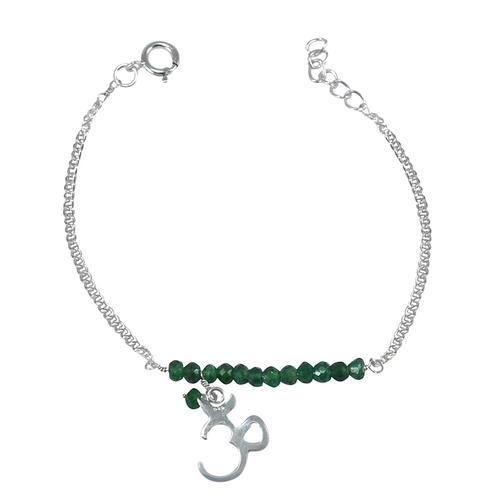 Handmade Jewelry Manufacturer Green Aventurine Gemstone 925 Sterling Silver Bracelet Jaipur Rajasthan India