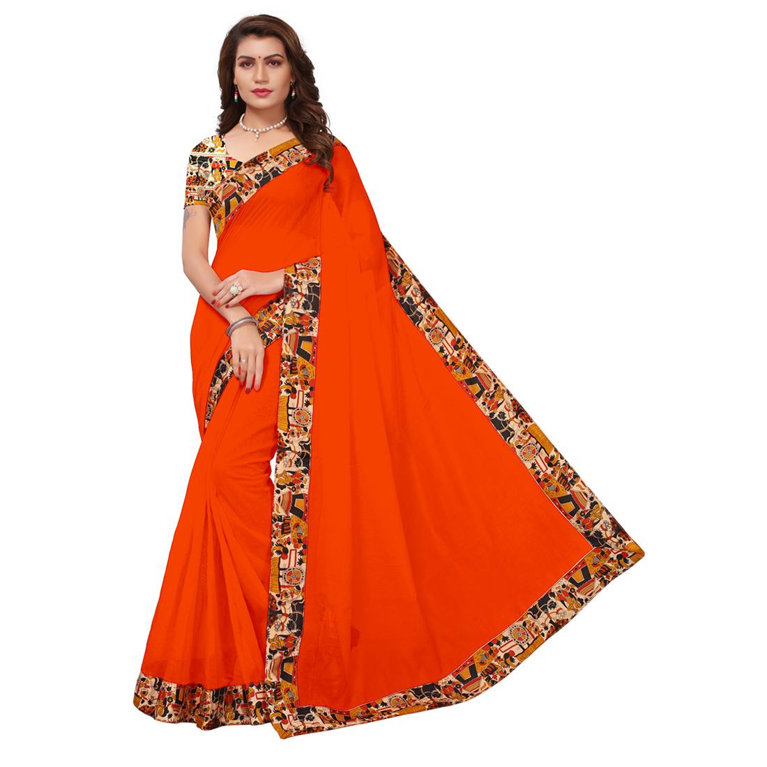 Designer Silky Partywear Saree, Kalamkari Saree
