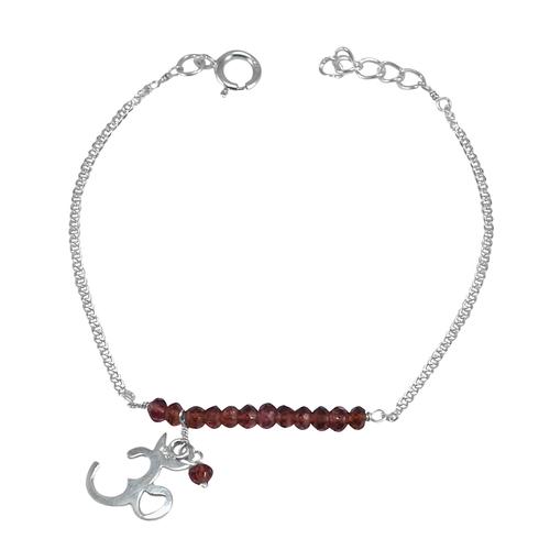 Red Crystal Gemstone jewelry Manufacturer Bracelet 925 Sterling Silver Bracelet Jaipur Rajasthan India