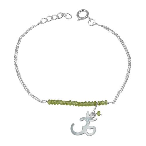 Handmade Jewelry Manufacturer Peridot Gemstone 925 Sterling Silver Bracelet Jaipur Rajasthan India
