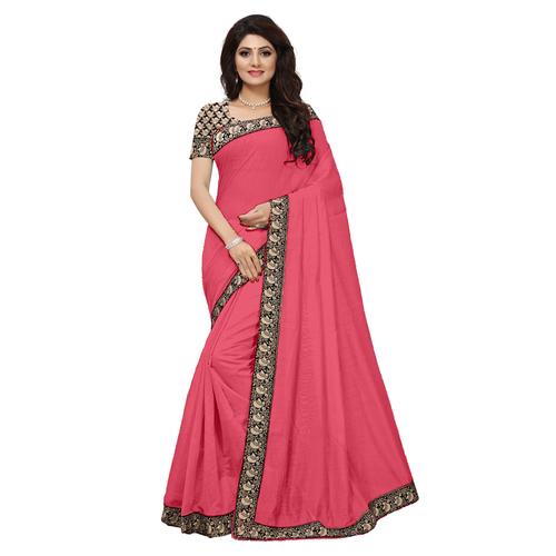 Casual Wear Chanderi Silk Saree with Lace Border