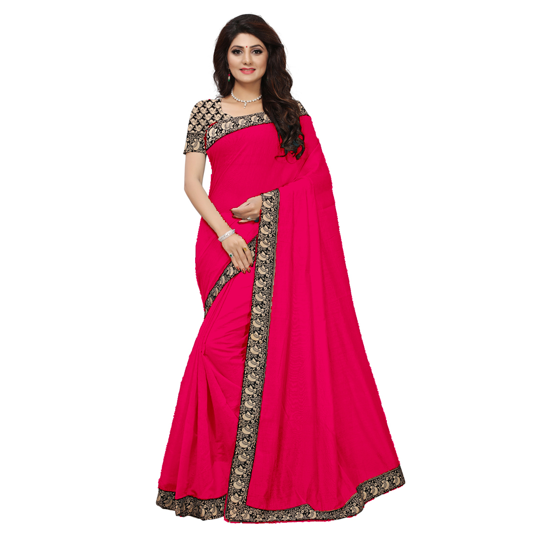 Casual Wear Chanderi Silk Saree with Lace Border