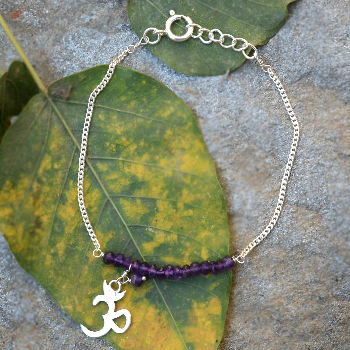 Handmade Jewelry Manufacturer 3 mm Faceted Amethyst Gemstone 925 Sterling Silver Bracelet Jaipur Rajasthan India