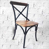 Wrought Iron Wooden Chair Without Armrest