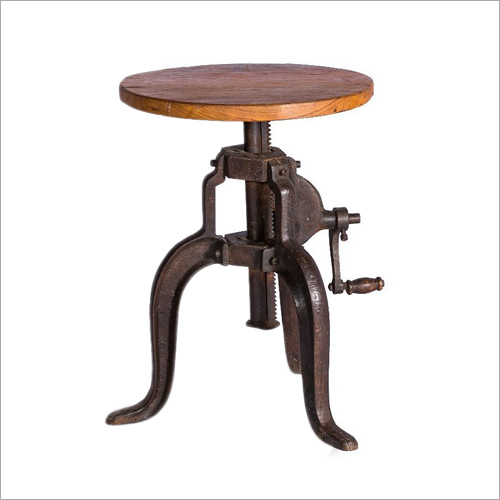 Wrouhg Iron Wooden Adjustable Stool