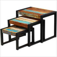 Wrought Iron Wooden Stool Set