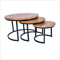Wrought Iron Wooden Nested Coffee Table