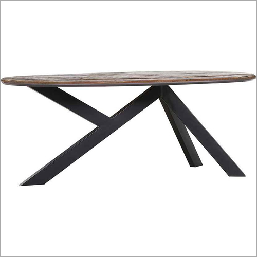 Wrought Iron Wooden Coffee Table