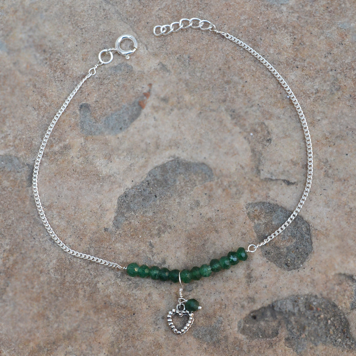 Green Aventurine Gemstone Jaipur Rajasthan India 925 Sterling Silver Single Piece Anklet Handmade Jewelry Manufacturer