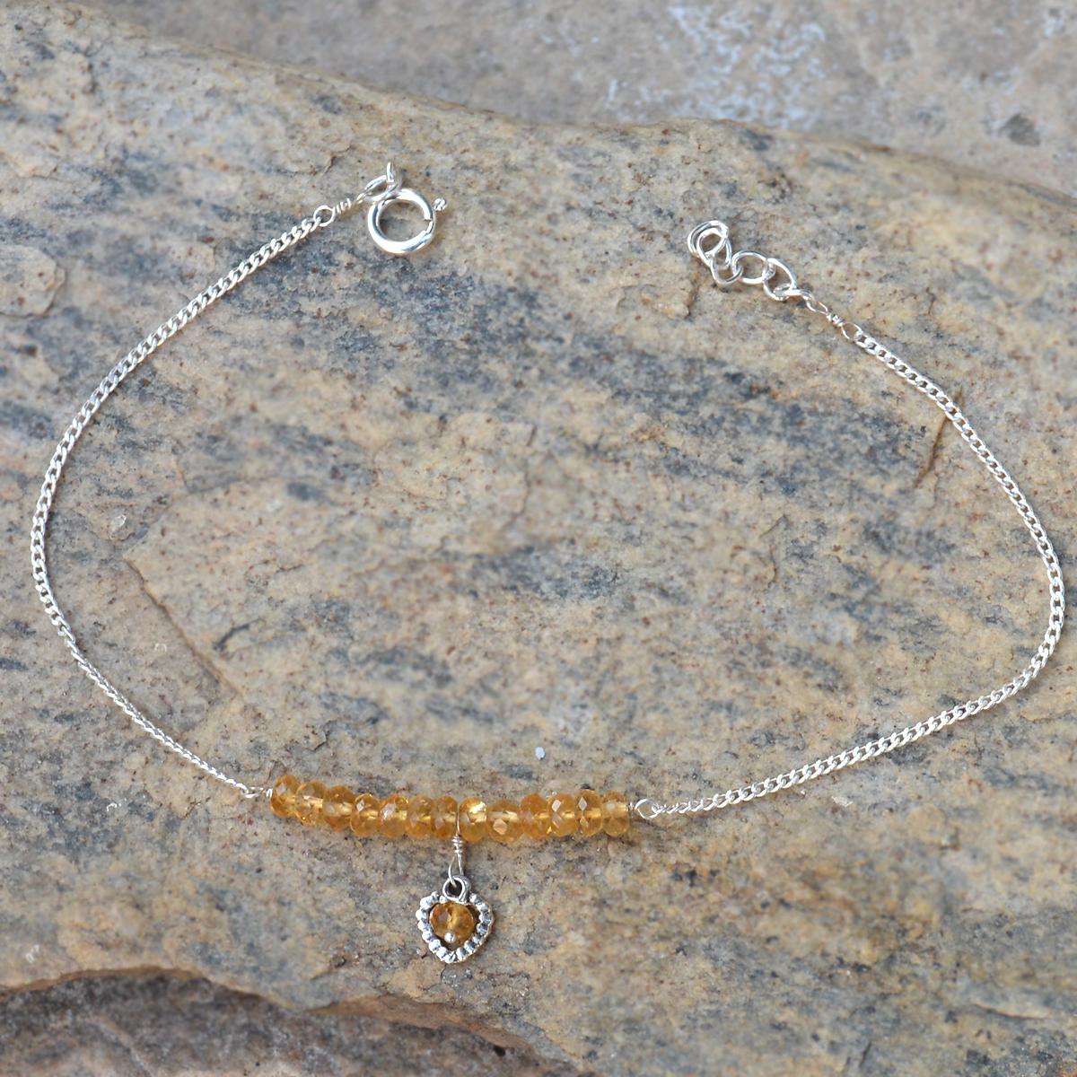 Handmade Jewelry Manufacturer 3 mm Round Citrine Gemstone 925 Sterling Silver Single Piece Anklet Jaipur Rajasthan India