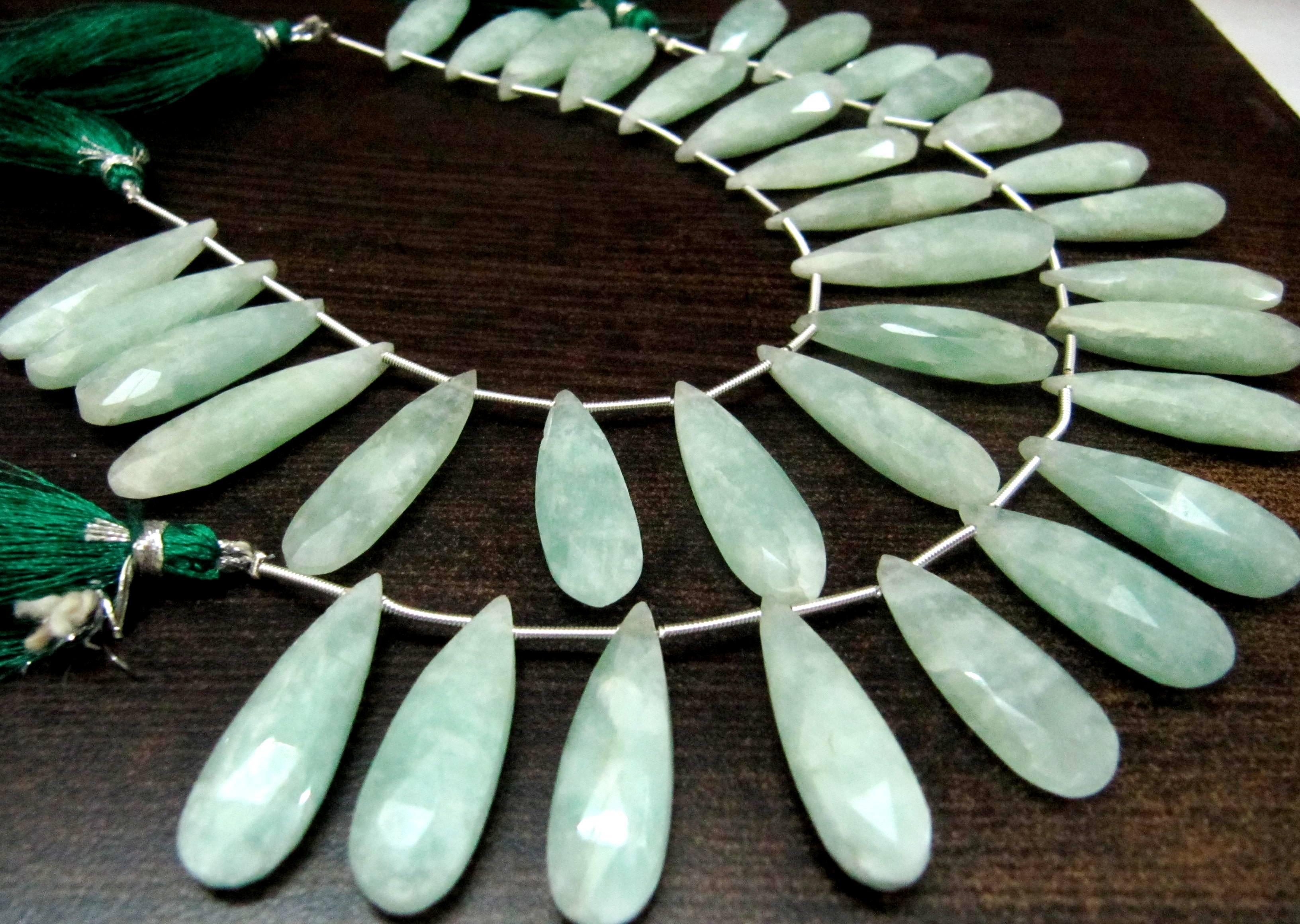 Natural Moonstone Russian Amazonite Pear Shape Jewelry Making Beads