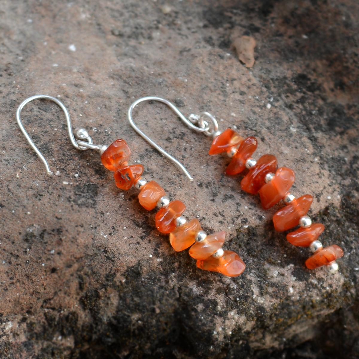 Handmade Jewelry Manufacturer Carnelian Gemstone 925 Sterling Silver Fish Hook Dangle Earring Jaipur Rajasthan India