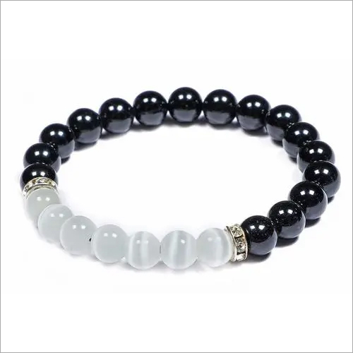 black tourmaline + selenite bracelet combo