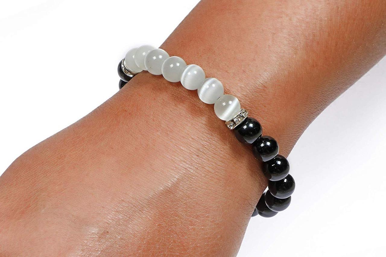 black tourmaline + selenite bracelet combo
