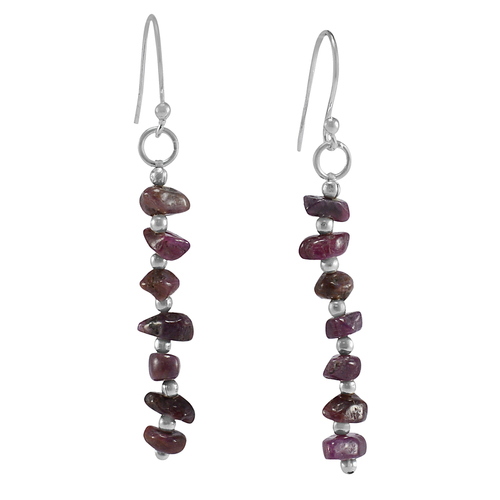 Ruby Gemstone Handmade Jewelry Manufacturer 925 Sterling Silver Dangle Earring Jaipur Rajasthan India