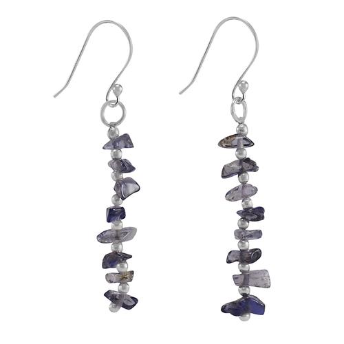 Handmade Jewelry Manufacturer Iolite Gemstone 925 Sterling Silver Fish Hook Dangle Earring Jaipur Rajasthan India