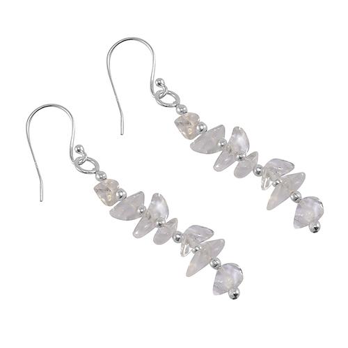 Crystal Quartz Gemstone Jaipur Rajasthan India 925 Sterling Silver Earring Handmade Jewelry Manufacturer