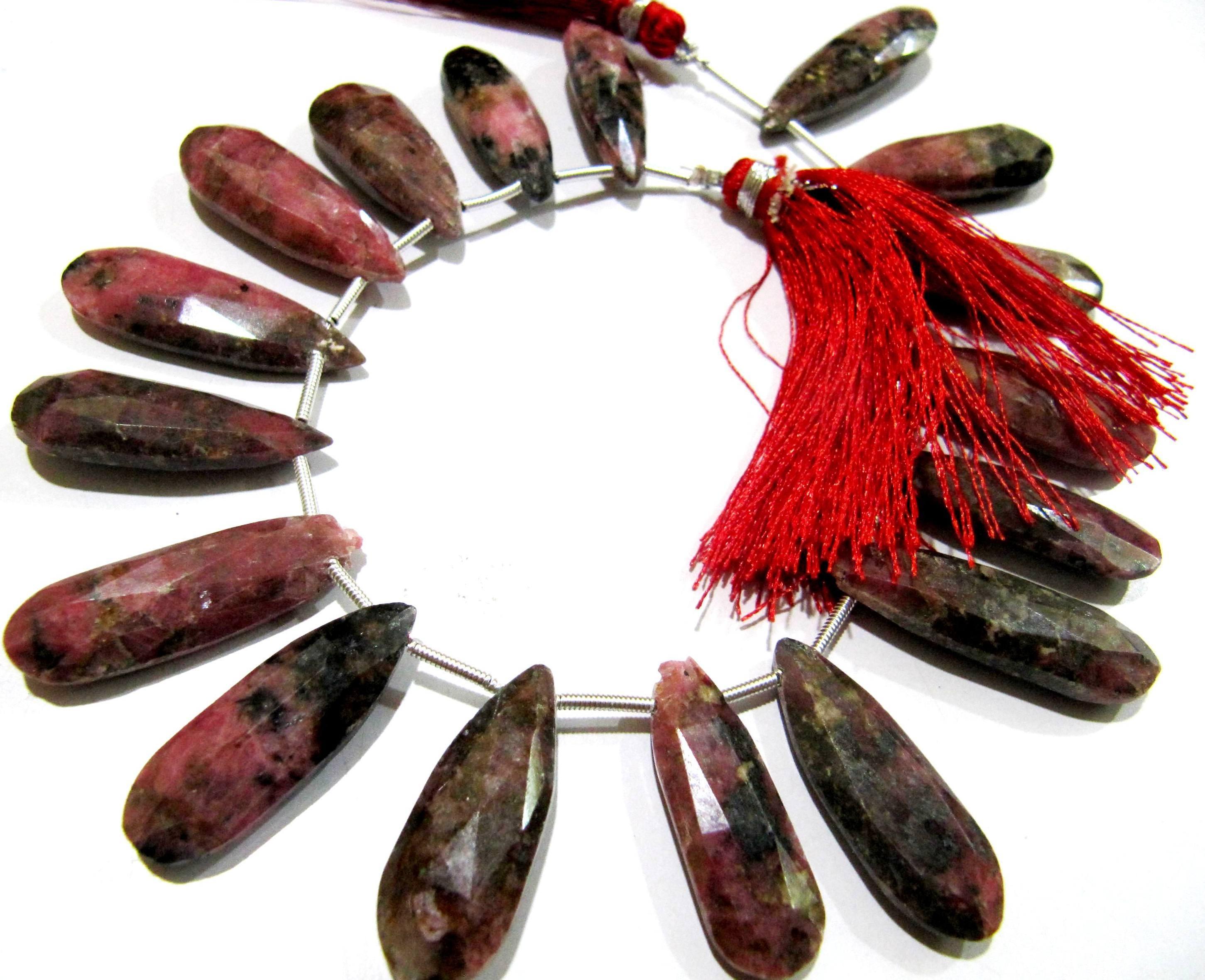 Natural Rhodonite Pear Shape briolette Beads,