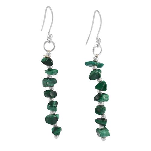 Handmade Jewelry Manufacturer Malachite Gemstone 925 Sterling Silver Dangle Earring Jaipur Rajasthan India