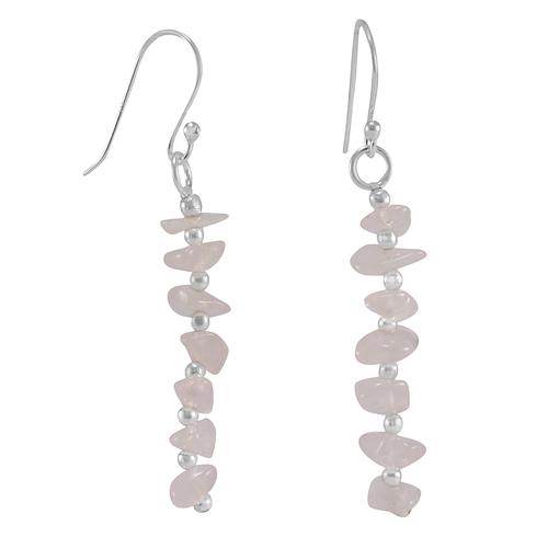 Jaipur Rajasthan India Rose Quartz Gemstone 925 Sterling Silver Earring Handmade Jewelry Manufacturer