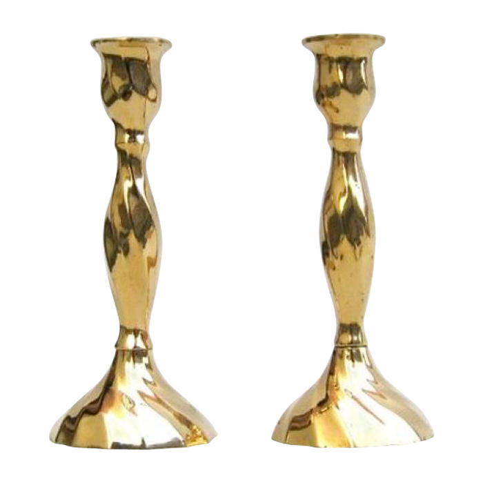 Solid Brass Candle Stick Holder Pair