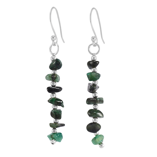 Emerald Gemstone Handmade Jewelry Manufacturer 925 Sterling Silver Earring Jaipur Rajasthan India