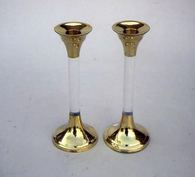Brass Candle Holder Pair Clear
