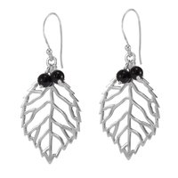 Handmade Jewelry Manufacturer Black Onyx Gemstone 925 Sterling Silver Jaipur Rajasthan India Dangle Earring